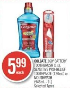 Colgate 360º Battery Toothbrush (1's) - Sensitive Pro-relief Toothpaste (120ml) or Mouthwash (946ml - 1l)