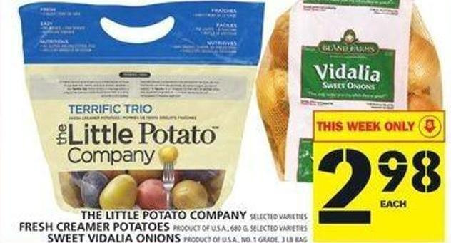 The Little Potato Company Or Fresh Creamer Potatoes Or Sweet Vidalia Onions
