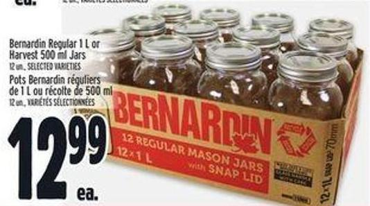 Bernardin Regular 1 L or Harvest 500 ml Jars 12 Un.