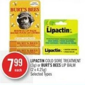 Lipactin Cold Sore Treatment (3g) or Burt's Bees Lip Balm (2 X 4.25g)