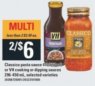Classico Pasta Sauce 410/650 Ml Or VH Cooking Or Dipping Sauces 296-450 Ml