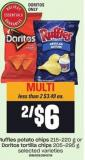 Ruffles Potato Chips - 215-220 G Or Doritos Tortilla Chips - 205-295 G
