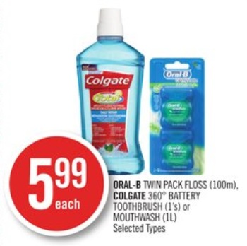 ORAL-B TWIN PACK FLOSS (100m), COLGATE 360° BATTERY TOOTHBRUSH (1's) or MOUTHWASH (1L)