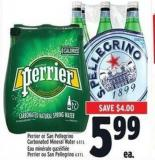Perrier Or San Pellegrino Carbonated Mineral Water 6 X 1 L