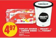 Yoplait Source or Creamy - 16's or Liberté Greek - 750 g Yogurt
