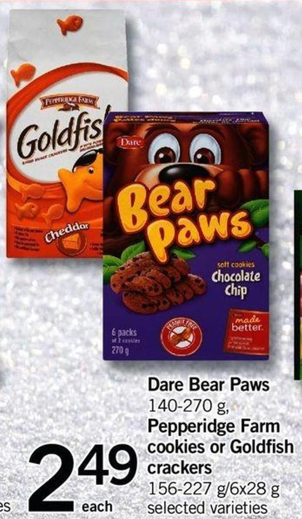 Dare Bear Paws - 140-270 G - Pepperidge Farm Cookies Or Goldfish Crackers - 156-227 G/6x28 G