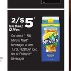 Select 1.75l Minute Maid Beverages Or Any 1.75l Nestea Iced Tea Or Fruitopia Beverages
