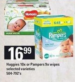 Huggies 10x Or Pampers 9x Wipes - 504-792's