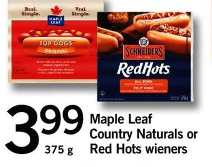 Maple Leaf Country Naturals Or Red Hots Wieners