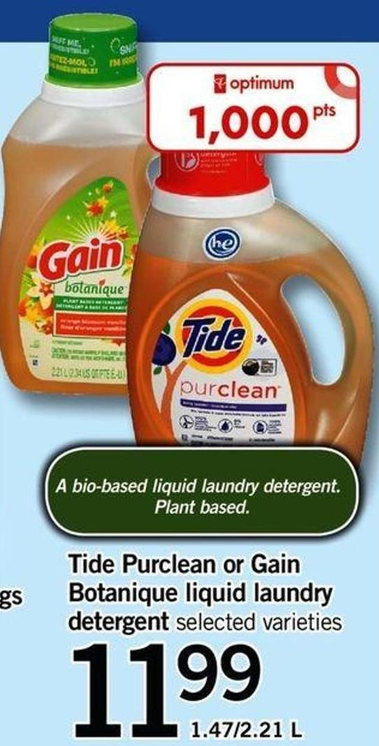 Tide Purclean Or Gain Botanique Liquid Laundry Detergent