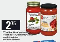 PC Or Blue Menu Pasta Sauce 410/650 Ml Or PC Salsa 415/650 Ml