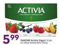 Danone Activia Yogurt 12 Pk or Oikos Greek 625-750 g