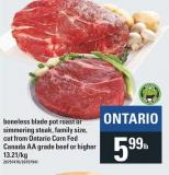 Boneless Blade Pot Roast Or Simmering Steak - Family Size - Cut From Ontario Corn Fed Canada Aa Grade Beef Or Higher
