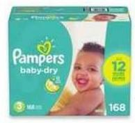 Pampers Baby-dry - Cruisers or Swaddlers Super Diapers