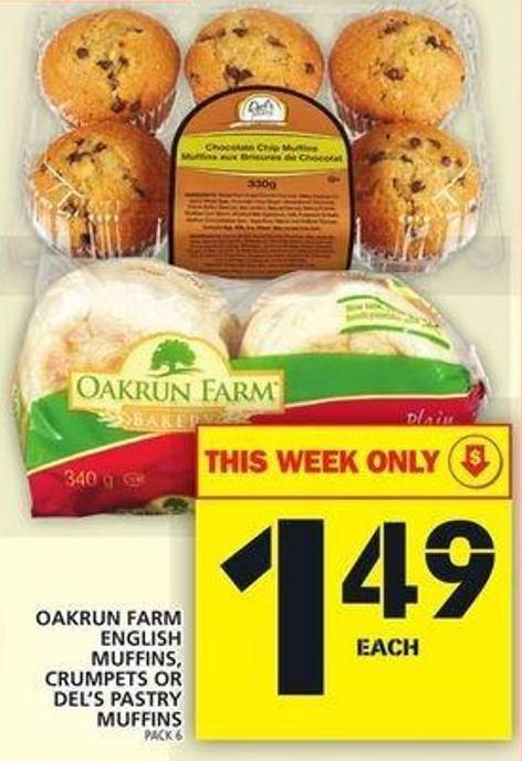 Oakrun Farm English Muffins - Crumpets Or Del's Pastry Muffins