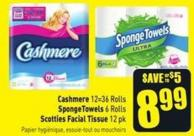 Cashmere 12=36 Rolls Spongetowels 6 Rolls Scotties Facial Tissue 12 Pk