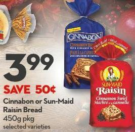 Cinnabon or Sun-maid Raisin Bread 450g Pkg
