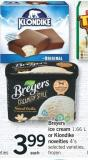 Breyers Ice Cream - 1.66 L Or Klondike Novelties - 4's