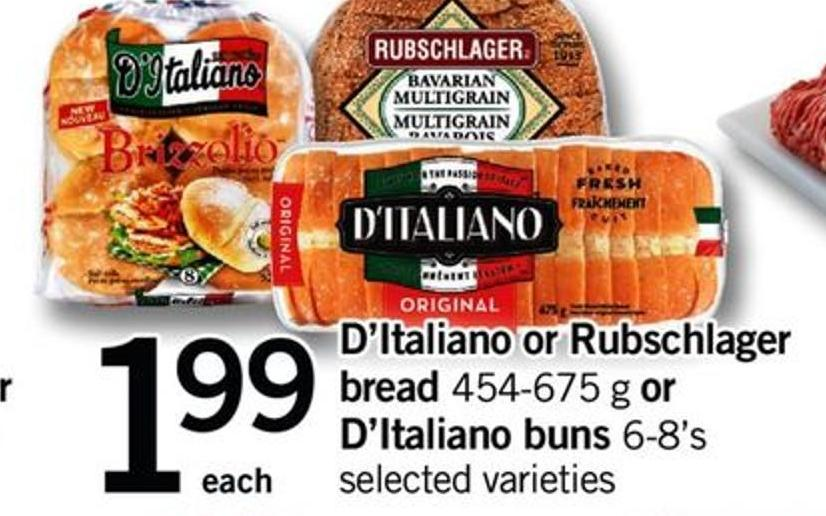 D'italiano Or Rubschlager Bread 454-675 G Or D'italiano Buns 6-8's