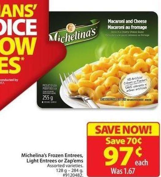 Michelina's Frozen Entrees.light Entrees or Zap'ems