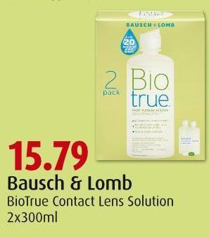 Bausch & Lomb Biotrue Contact Lens Solution 2x300ml