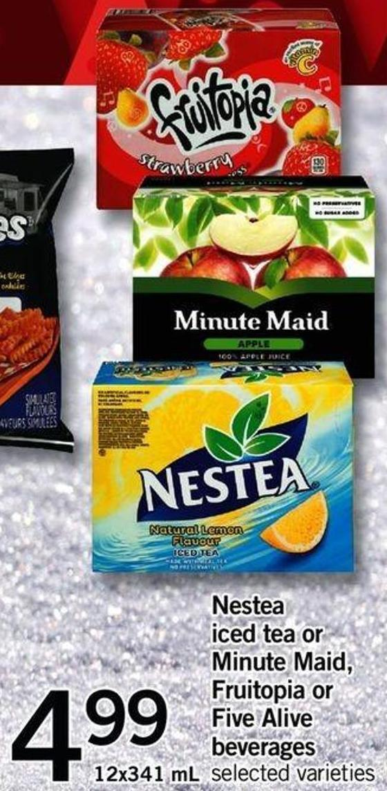 Nestea Iced Tea Or Minute Maid - Fruitopia Or Five Alive Beverages - 12x341 Ml