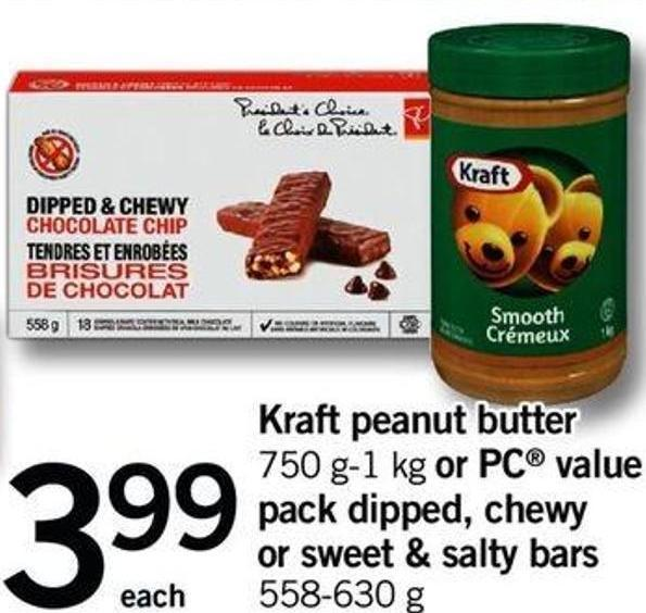 Kraft Peanut Butter - 750 G-1 Kg Or PC Value Pack Dipped - Chewy Or Sweet & Salty Bars - 558-630 G