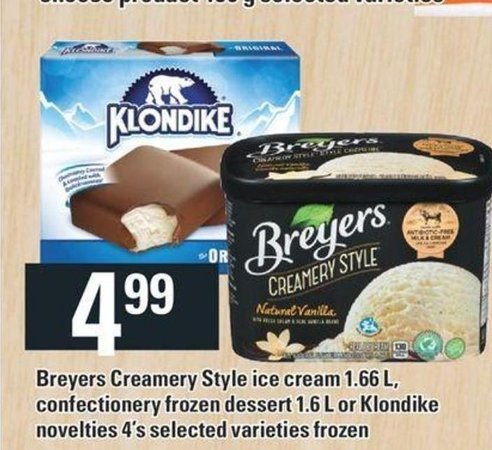 Breyers Creamery Style Ice Cream 1.66 L - Confectionery Frozen Dessert 1.6 L Or Klondike Novelties 4's