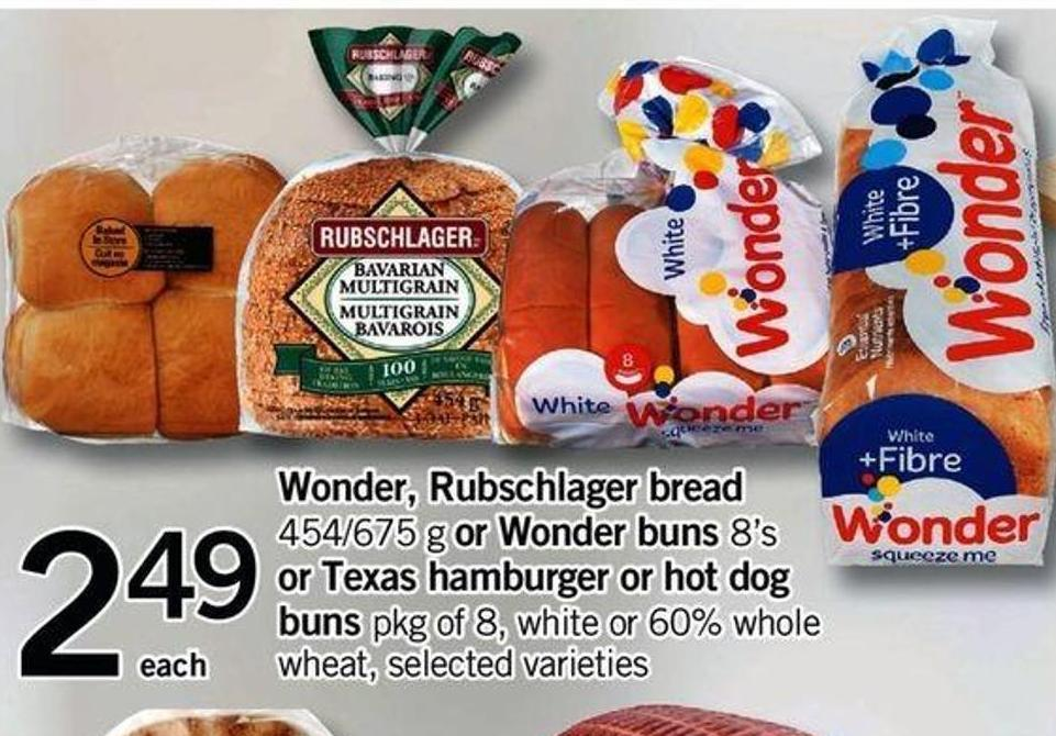 Wonder - Rubschlager Bread 454/675 G Or Wonder Buns 8's Or Texas Hamburger Or Hot Dog Buns Pkg Of 8 - White Or 60% Whole Wheat