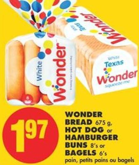 Wonder Bread 675 G - Hot Dog Or Hamburger Buns 8's Or Bagels 6's