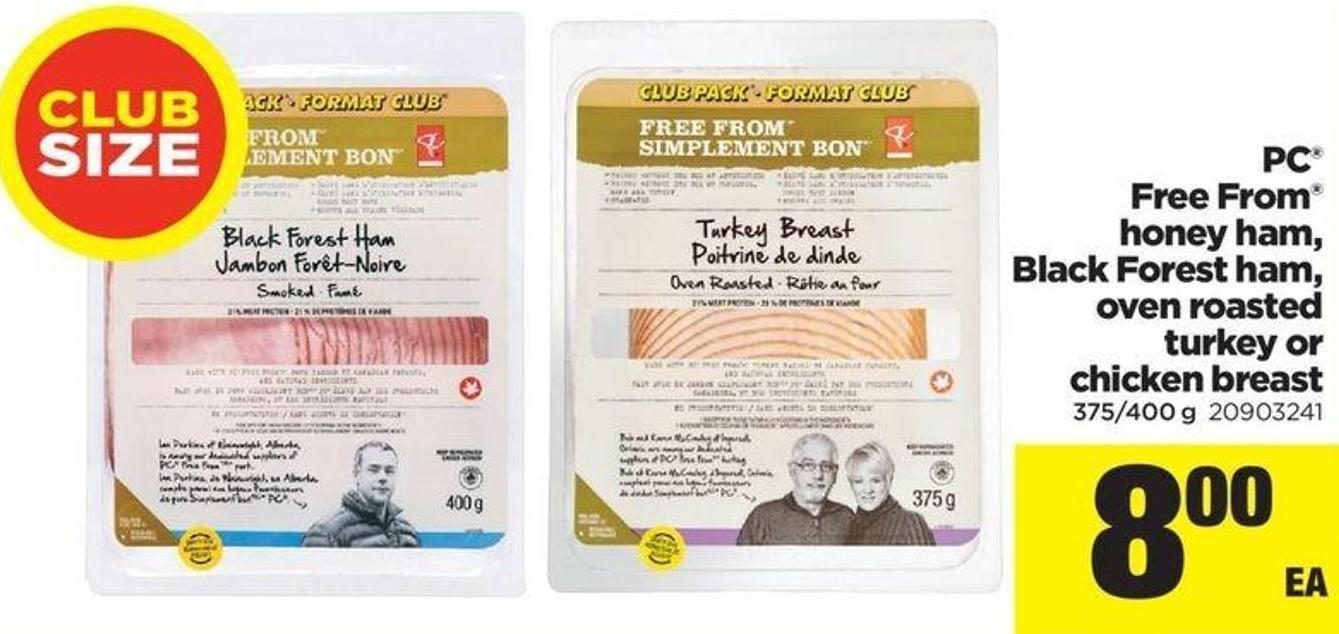 PC Free From Honey Ham - Black Forest Ham - Oven Roasted Turkey Or Chicken Breast - 375/400 g