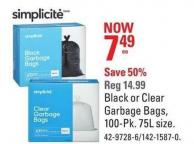 Simplicite Black or Clear Garbage Bags - 100-pk