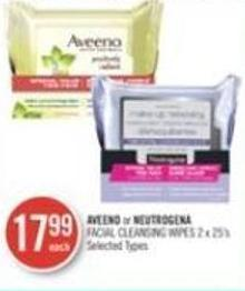 Aveeno or Neutrogena Facial Cleansing Wipes