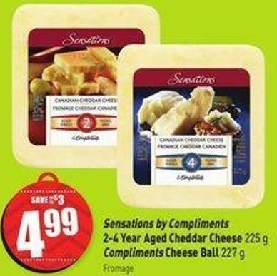 Sensations By Compliments 2-4 Year Aged Cheddar Cheese 225 g Compliments Cheese Ball 227 g