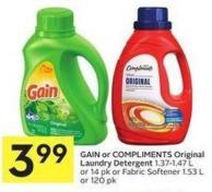 Gain or Compliments Original Laundry Detergent 1.37-1.47 L or 14 Pk or Fabric Softener 1.53 L or 120 Pk