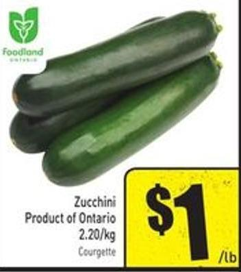 Zucchini Product of Ontario 2.20/kg