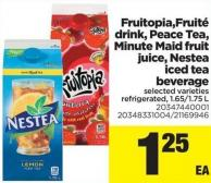 Fruitopia.fruité Drink - Peace Tea - Minute Maid Fruit Juice - Nestea Iced Tea Beverage - 1.65/1.75 L