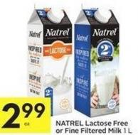 Natrel Lactose Free or Fine Filtered Milk 1 L