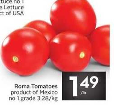 Roma Tomatoes Product of Mexico No 1 Grade 3.28/kg