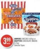 Hawkins Cheezies (420g) or Snappers Chocolate Snacks (170g)