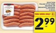 Selection Italian Style Pork Sausage Or Breakfast Sausage