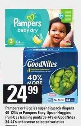 Pampers Or Huggies Super Big Pack Diapers 40-124's Or Pampers Easy-ups Or Huggies Pull-ups Training Pants 56-74's Or Goodnites 34-44's Underwear