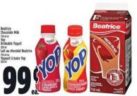 Beatrice Chocolate Milk 750 ml or Yop Drinkable Yogurt 200 ml Lait Au Chocolat Beatrice 750 ml ou Yogourt à Boire Yop 200 ml
