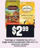 Twinings Or Celestial Tea 20's Or Eagle Brand Condensed Milk 300 Ml