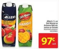 Allen's 1 L or Del Monte or Arizona 960 mL Juices or Drinks