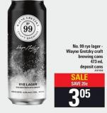 No. 99 Rye Lager - Wayne Gretzky Craft Brewing Cans - 473 Ml