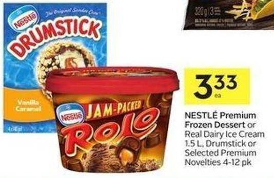 Nestlé Premium Frozen Dessert or Real Dairy Ice Cream 1.5 L - Drumstick or Selected Premium Novelties 4-12 Pk