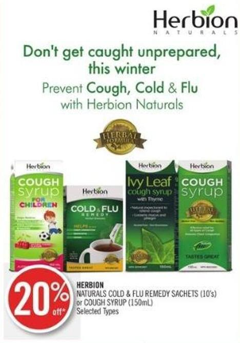 Herbion Naturals Cold & Flu Remedy Sachets (10's) or Cough Syrup (150ml)