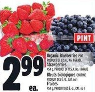 Organic Blueberries Pint Product Of U.S.A. - No. 1 Grade Strawberries 454 g - Product Of U.S.A. No. 1 Grade