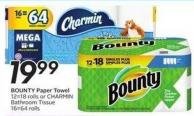 Bounty Paper Towel 12=18 Rolls or Charmin Bathroom Tissue 16=64 Rolls - 50 Air Miles Bonus Miles